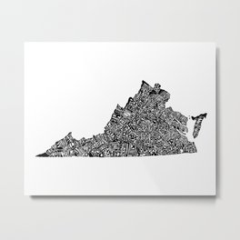 Typographic Virginia Metal Print