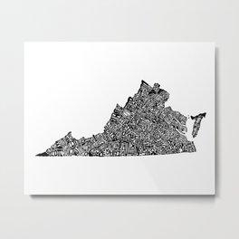 Typographic Virginia Metal Print