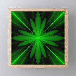 Neon Green Flower Fractal Framed Mini Art Print