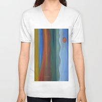 france V-neck T-shirts featuring France by Louvretta