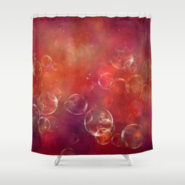Into the red space surreal bubbles Shower Curtain