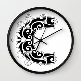 Letter C Scroll Initial Wall Clock