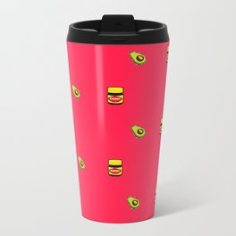 Vegemite & Avocado Repeat Print  Metal Travel Mug