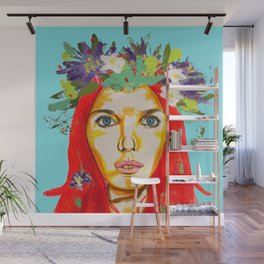 Red haired girl with flowers in her hair Wall Mural