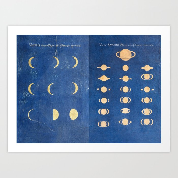 17th-Century Astronomical Art by Maria Clara Eimmart: Phases of Venus and Saturn Art Print