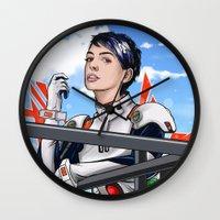 evangelion Wall Clocks featuring Evangelion Rei Hathaway by Akyanyme
