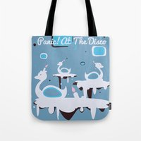 panic at the disco Tote Bags featuring Panic! at the Disco - Candle Swans by Shana Marie