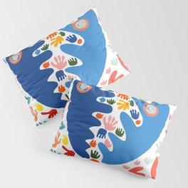 Two Blue Faces Abstract Joyful Pattern Art Decoration Emmanuel Signorino Pillow Sham