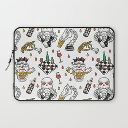 Chess-skeleton pattern with vine and beer bottles Laptop Sleeve