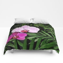 Orchids with palm leaves Comforters