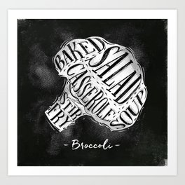 Broccoli cutting scheme chalk Art Print