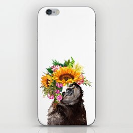 Sloth with Sunflower Crown iPhone Skin