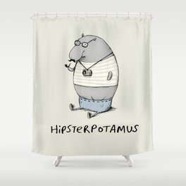 Hipsterpotamus Shower Curtain