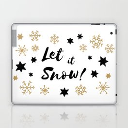Let it Snow! Calligraphy Christmas, Stars and Snowflakes Laptop & iPad Skin