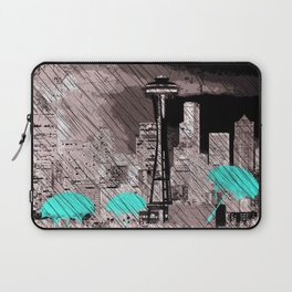 Seattle Skyline in Winter with Red Umbrellas Laptop Sleeve