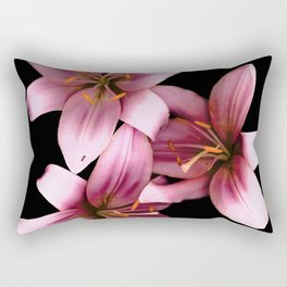 Pretty Pink Ant Lilies, Flowers Scanography Rectangular Pillow