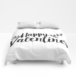 Hand Lettering Happy Valentines Comforters