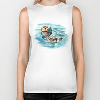 otter Biker Tanks featuring Otter by Anna Shell