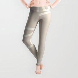 Abstract line art / Face/beige Leggings