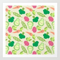 vegetable Art Prints featuring VEGETABLE PARTY! by Claudia Ramos Designs