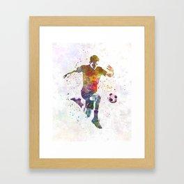 man soccer football player 09 Framed Art Print