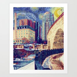 Minneapolis Starry Night Art Print