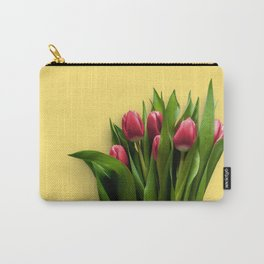 Yellow Bright Light Amber Pink Tulip Blossoms Flatlay Carry-All Pouch
