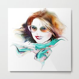Watercolor Beautiful Girl V4 Metal Print