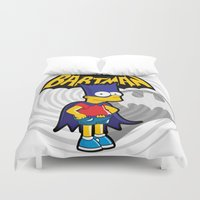 simpsons Duvet Covers featuring Bartman: the simpsons superheroes by logoloco