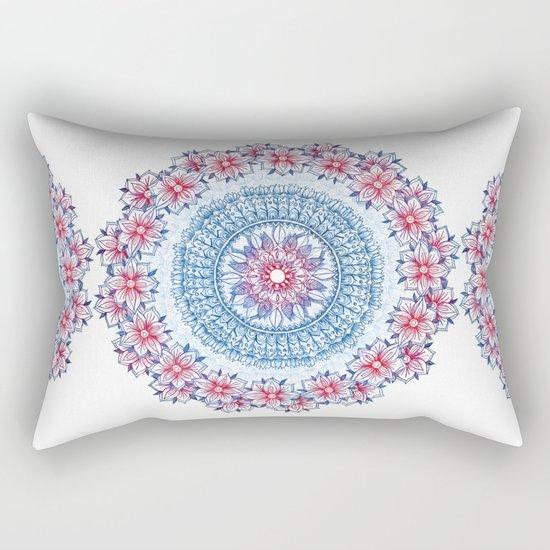 Red, Blue & White Floral Medallion Rectangular Pillow