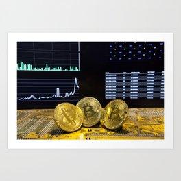 Bitcoin trio circuit market charts clean Art Print