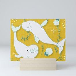 Beluga Whale Mustard #homedecor Mini Art Print