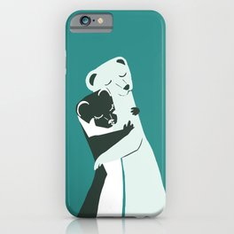 Weasel hugs in teal iPhone Case