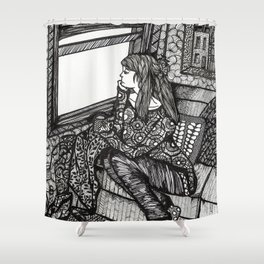 contemplating girl Shower Curtain