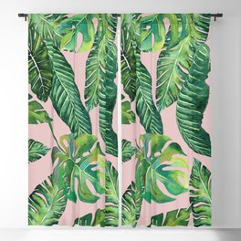 Jungle Leaves, Banana, Monstera Pink #society6 Blackout Curtain