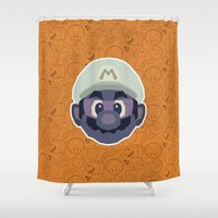 mario Shower Curtains featuring Mario by Kuki