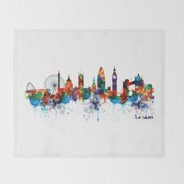 London Watercolor Skyline Silhouette Throw Blanket