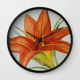 Watercolour Daylilies. Wall Clock