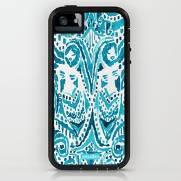 #MERMLIFE Blue Ikat Watercolor Mermaids iPhone Case