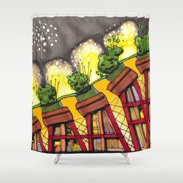 Fireworks Explosion Architectural Design 88 Shower Curtain