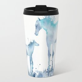 Watercolor Horse and Foal Mom and baby Travel Mug