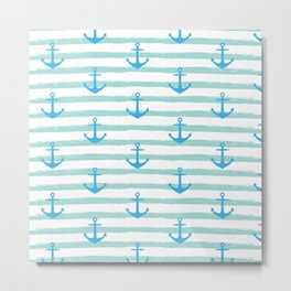 Anchor & Stripes Pattern - Mint / Blue Metal Print