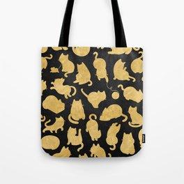 Gold on Black Kitty Pattern Tote Bag