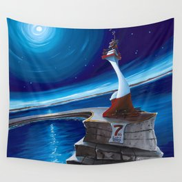 Ogden Point Beacon at Night Wall Tapestry