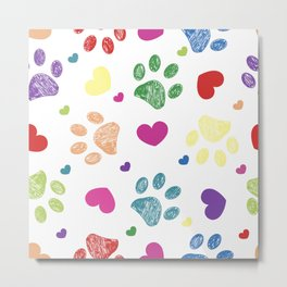 Doodle colorful paw prints with hearts seamless fabric design pattern white background Metal Print