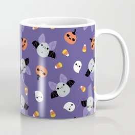 Purple Kawaii Halloween Bat Pattern Coffee Mug
