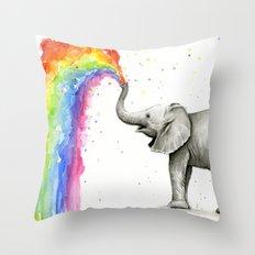 Baby Elephant Spraying Rainbow Whimsical Animals Throw Pillow