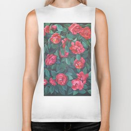 Camellias, lips and berries. Biker Tank