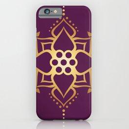 Indian Golden Art Lotus flower Mandala Pattern with Elegant Fuxia background color iPhone Case