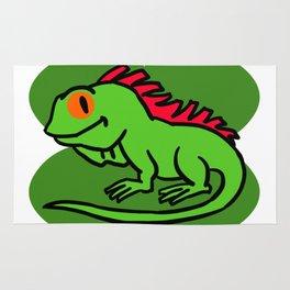 Iguana On 4 Leaf Clover- St. Patricks Day Funny Rug